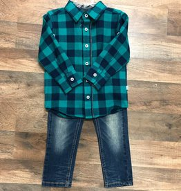 Navy & Emerald Buffalo Plaid Button Down & Jeans