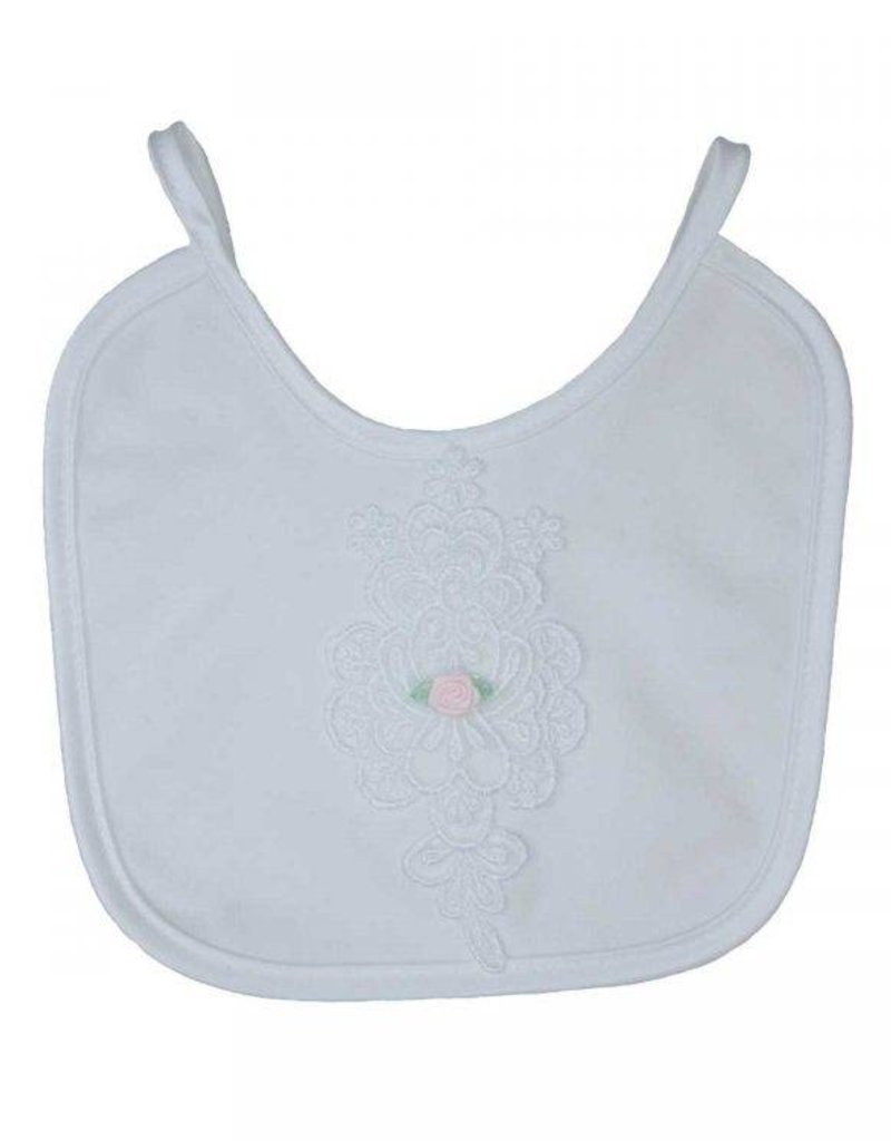 Little Things Mean A lot Embroidered Pink Flower Baptism Bib