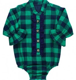 RuggedButts Rufflebutts Navy & Emerald Buffalo Plaid Ruffled Bodysuit
