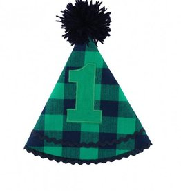 RuggedButts Navy & Emerald Buffalo Plaid Birthday Hat - One Size