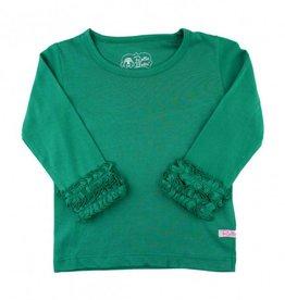 RuffleButts Emerald Ruffled Long Sleeve Layering Tee