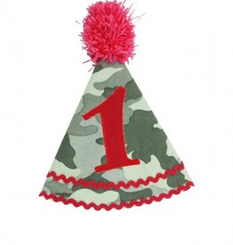RuffleButts Camden Camo Birthday Hat - One Size