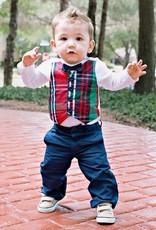 RuffleButts Holiday Plaid Vest Bodysuit