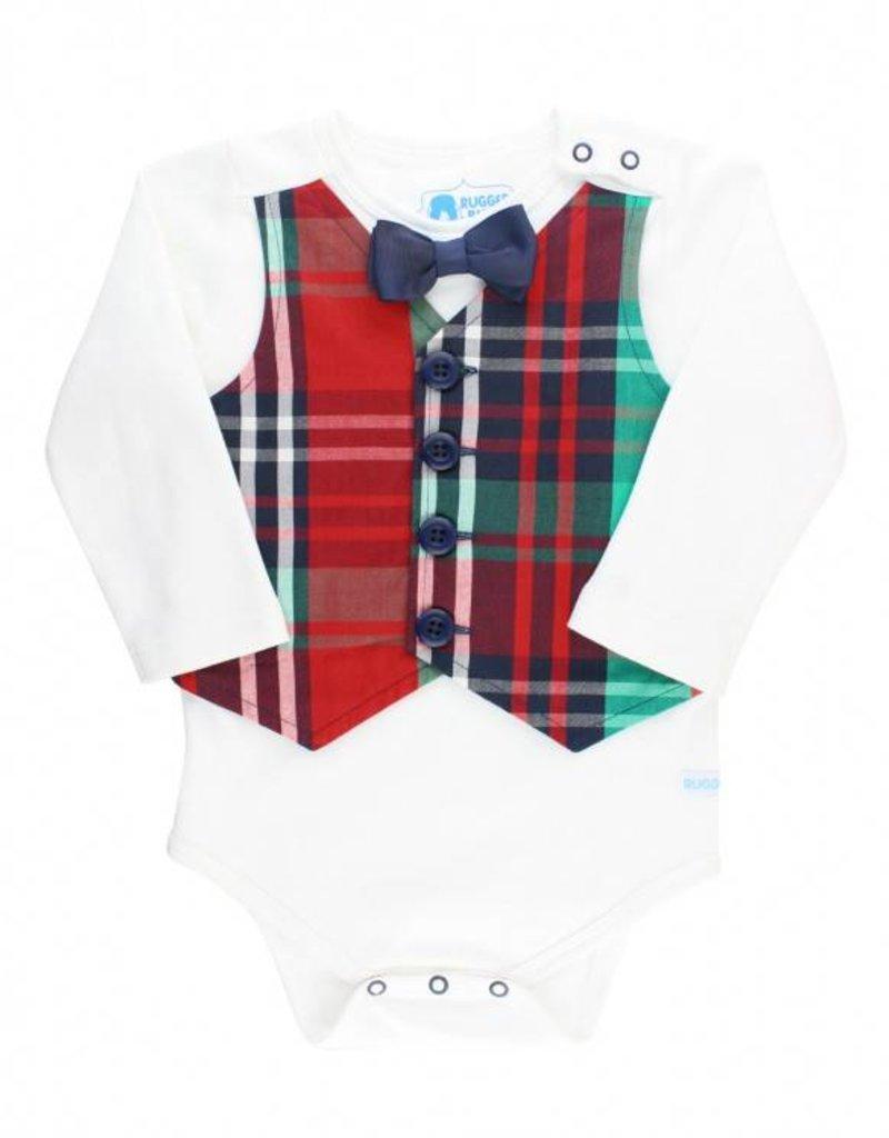 RuffleButts Rufflebutts Holiday Plaid Vest Bodysuit