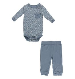 Kickee Pants Long Sleeve Pocket One Piece & Pant Set- Dusty Sky Tortoise Shell