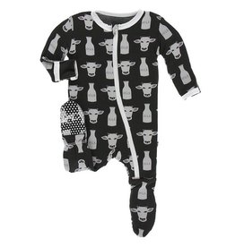 Kickee Pants Kickee Pants Cow & Milk Footie