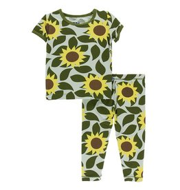 Kickee Pants Kickee Pants Aloe Sunflower Sort Sleeve PJ Set