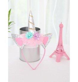 Baby Kiss Unicorn Headband w/ Flowers