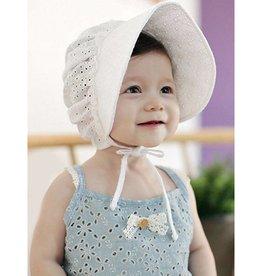 Baby Kiss Breathable Cotton Bonnet White