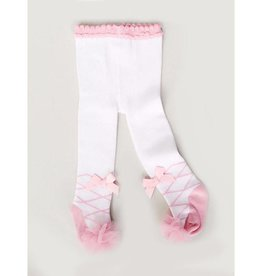 Baby Kiss White & Pink Ballet Print Tights