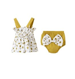 Baby Kiss Flower Print Top & Bloomer w/bow Set
