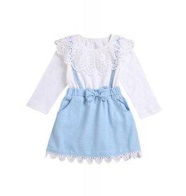 Baby Kiss White & Denim Collared Dress