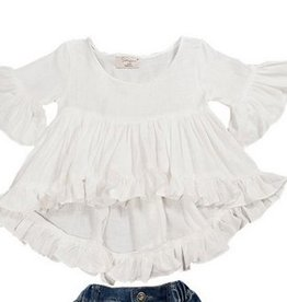 Baby Kiss High Low White Flowy Top