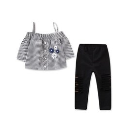 Baby Kiss Gingham Top & Distressed Legging Set