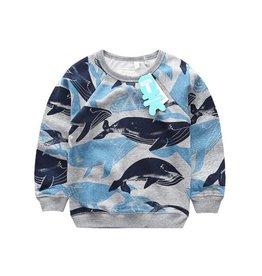 Baby Kiss Whale Print Crewneck