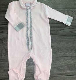 Baby Kiss Pink Sleeper w/ plaid wrist cuffs