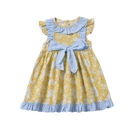 Baby Kiss Yellow & Blue Flutter Sleeve Floral Dress