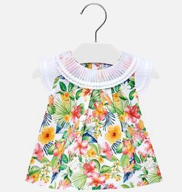 Mayoral Mayoral Floral Blouse w/ Pleated Neck & Shoulders