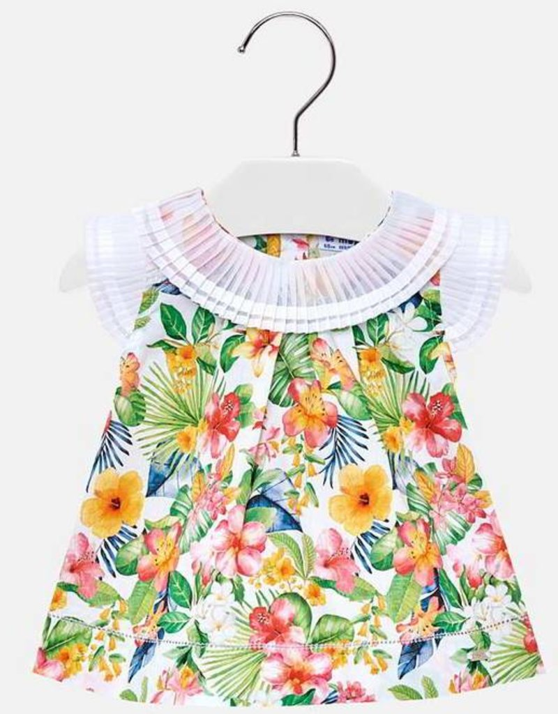 Mayoral Mayoral Floral Blouse w/pleated neck & shoulders