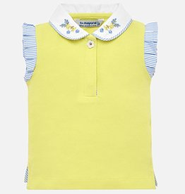 Mayoral Mayoral Girls Yellow Polo Top w/ Flutter Sleeve