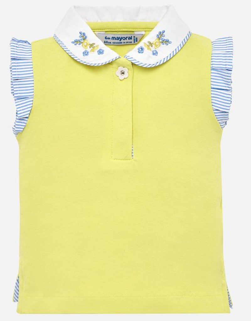 6f0ecf3f13f1bb Mayoral Girls Yellow Polo Top w  Flutter Sleeve - Hello Baby