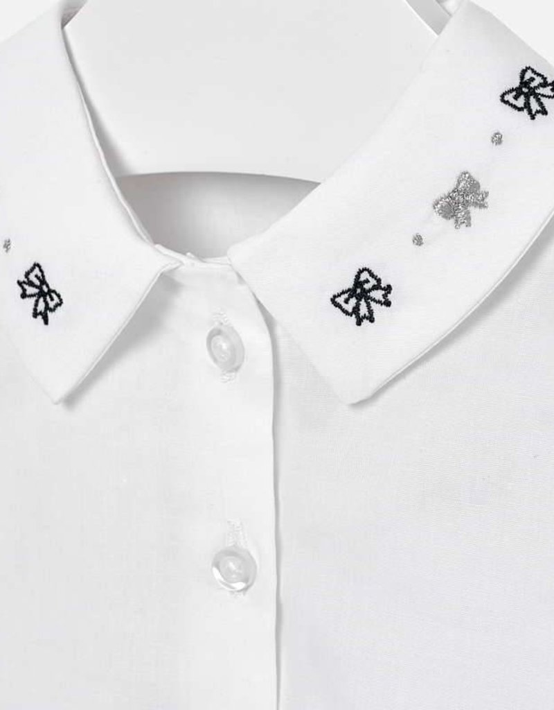 Mayoral Mayoral White Blouse w/ Embroidered Neck