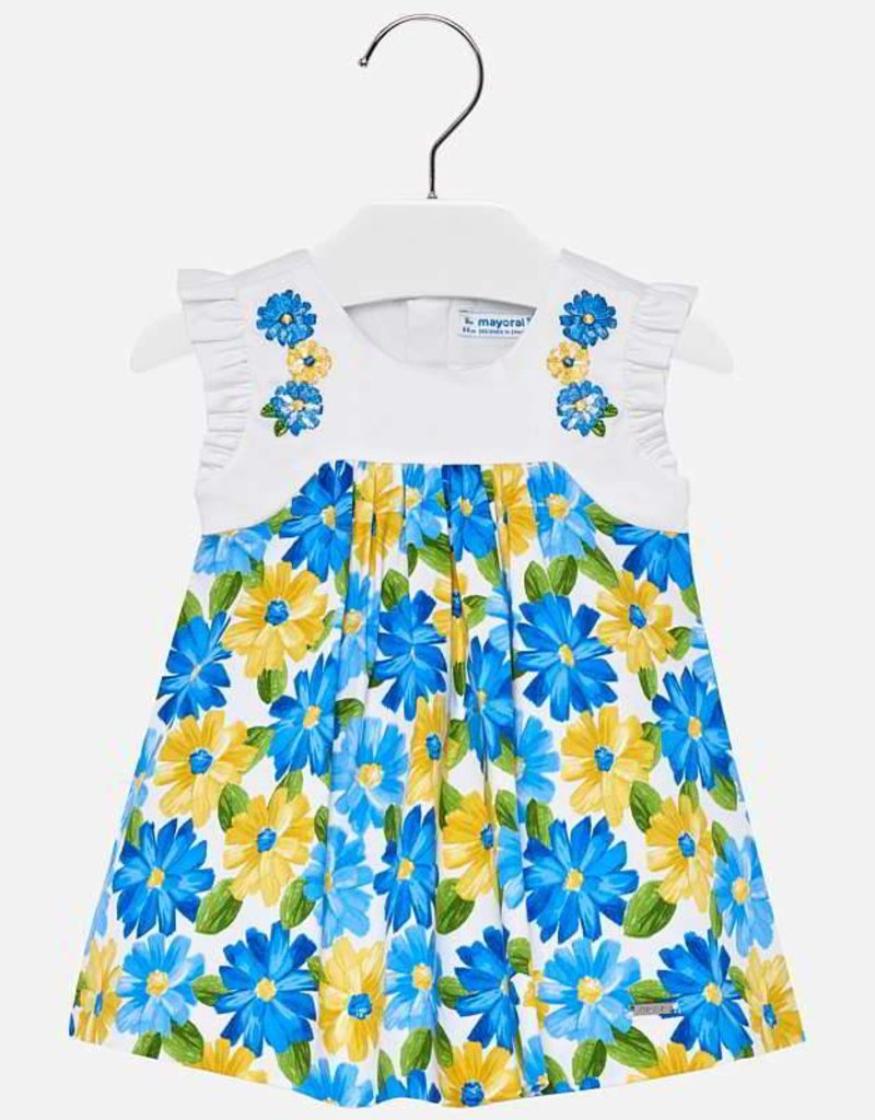 Mayoral Mayoral Embroidered Floral Yellow and Blue Dress