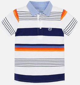 Mayoral Mayoral Orange & Navy Stripe Polo