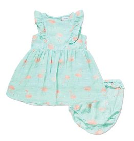 Angel Dear Angel Dear Flamingo Muslin Ruffle Sundress & Bloomer