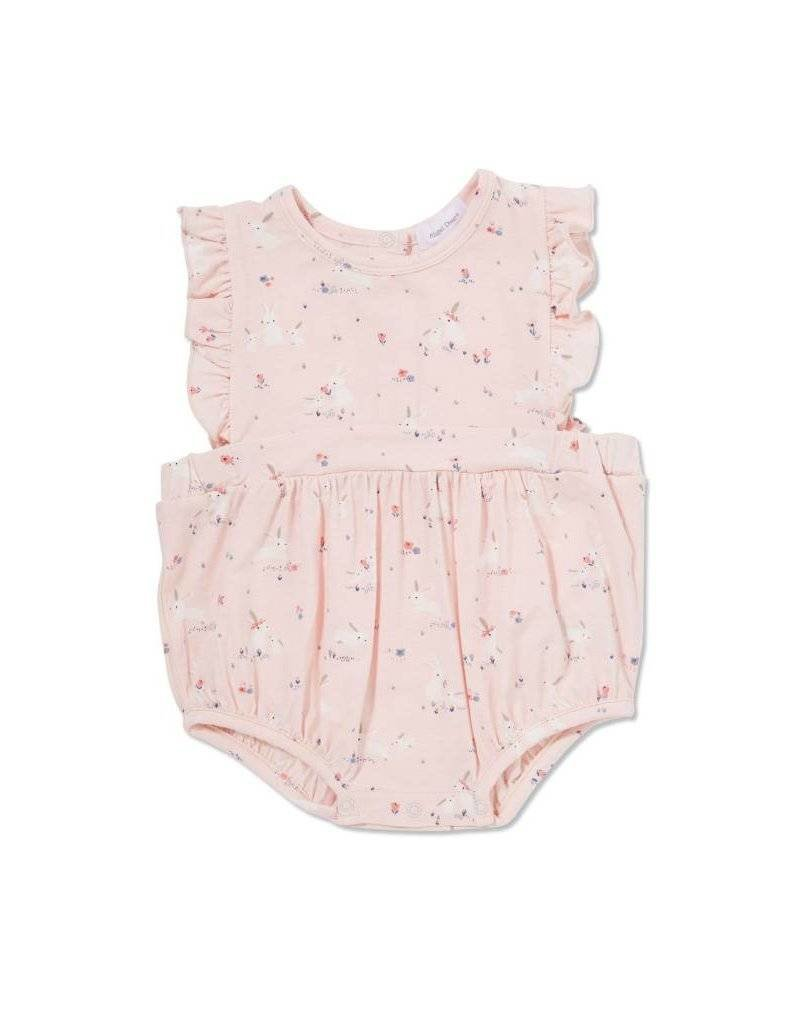 Angel Dear Angel Dear  Baby Bunnies Bamboo Ruffle Sunsuit