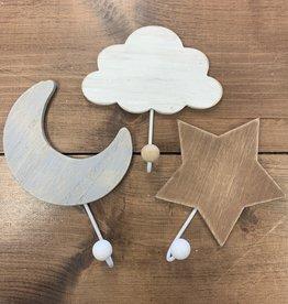 Hello Baby Star, Moon & Cloud Hook Hanging Set