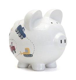 White Construction Piggy Bank