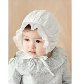 Baby Kiss Ruffled White Elastic Bonnet