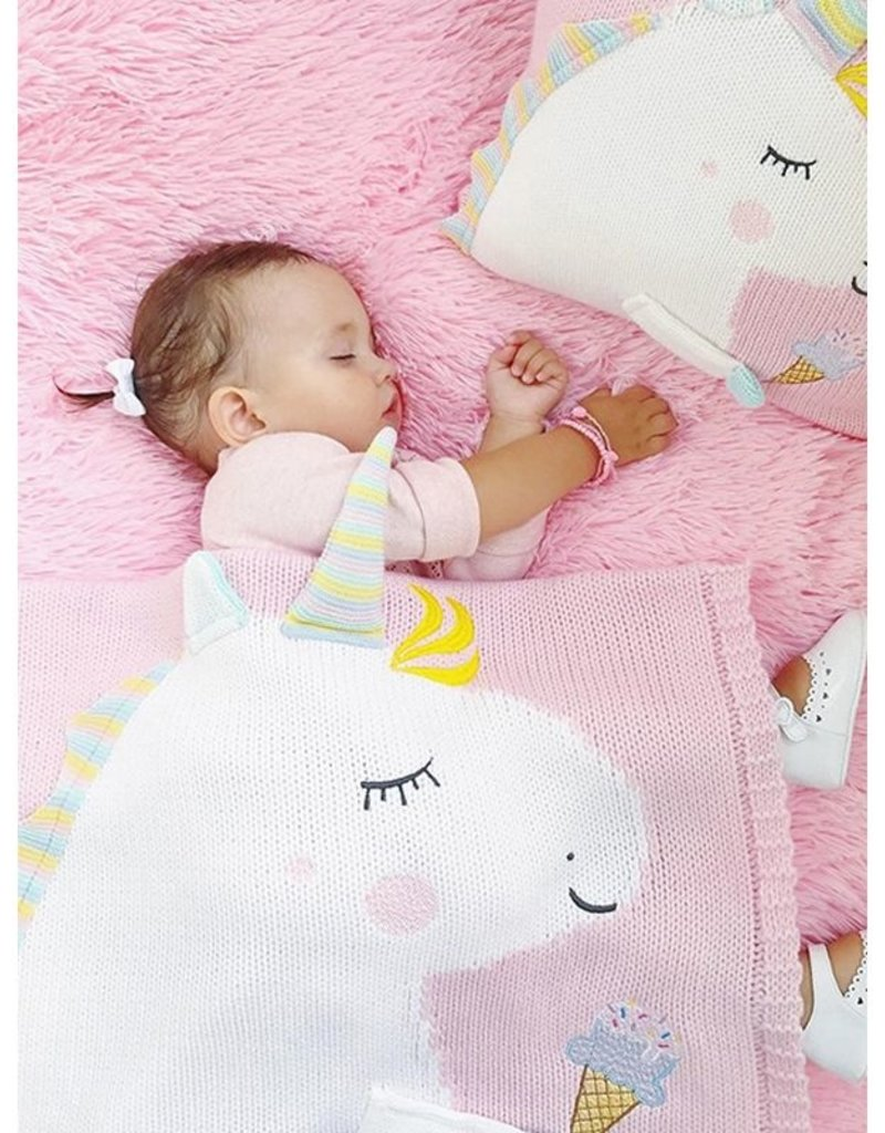 Baby Kiss Knitted Pink Unicorn Blanket