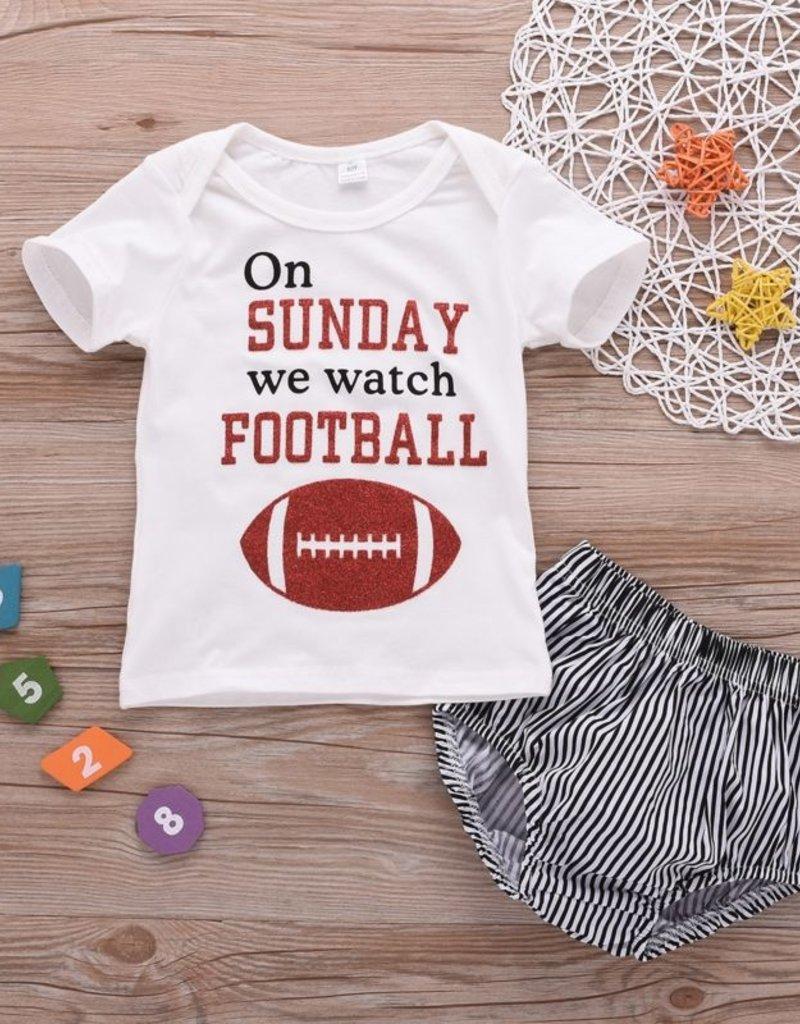 Baby Kiss Sunday Football Tee & Shorts Set