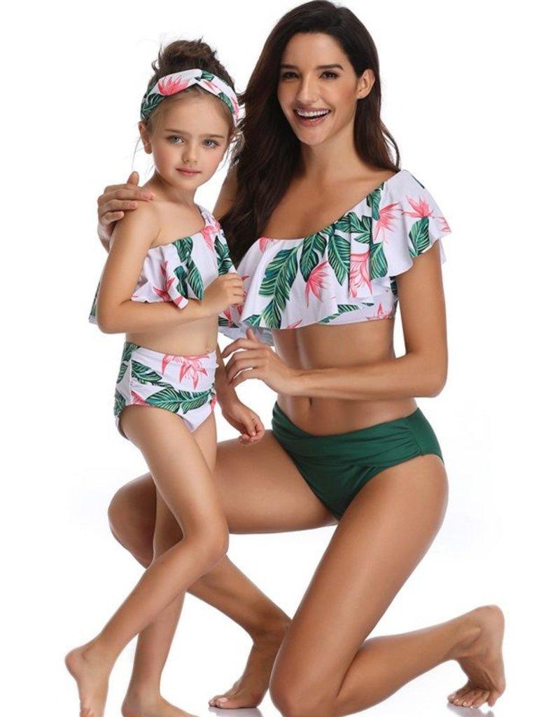 Baby Kiss Girls Tropical Floral One Shoulder Bikini