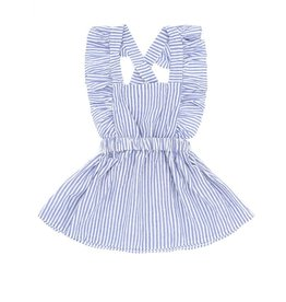 Baby Kiss Light Blue Striped Flutter Tank Dress