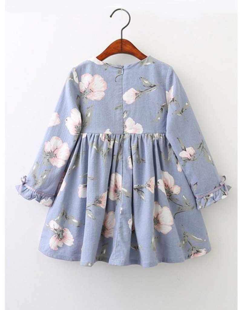 Baby Kiss Periwinkle Blue Floral Dress w Ruffled Cuff Sleeves