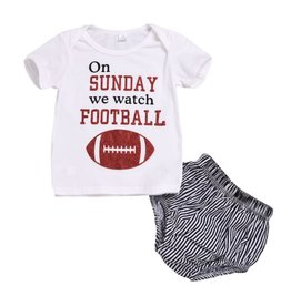 Baby Kiss Sunday Football Tee & Shorts Set