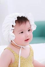 Baby Kiss Ruffled White Elastic Bonnet