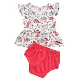 Baby Kiss Pink Dinosaur Tee & Bloomer Set