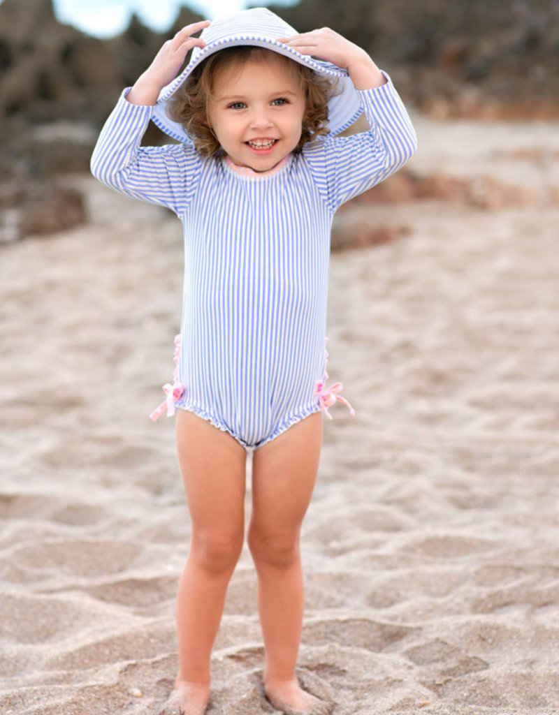 RuffleButts/RuggedButts Periwinkle Blue Seersucker One piece Rash Guard