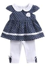 Baby Kiss 2 Piece Polka Dot Flower Trim Tunic & Leggings Set