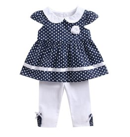 Baby Kiss 2 Piece Polka Dot Flower Trim Tunic & Leggings Set