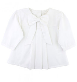 RuffleButts Rufflebutts White Sateen Bow Top