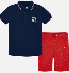 Mayoral Mayoral Printed Shorts and Polo Set