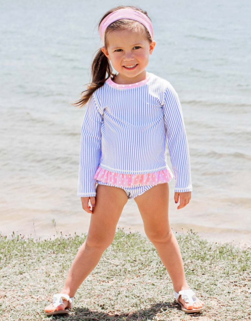 RuffleButts/RuggedButts Blue SeerSucker Long Sleeve Rash Guard Bikini 5