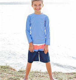 RuffleButts Coral & Blue Color Block Swim Trunks