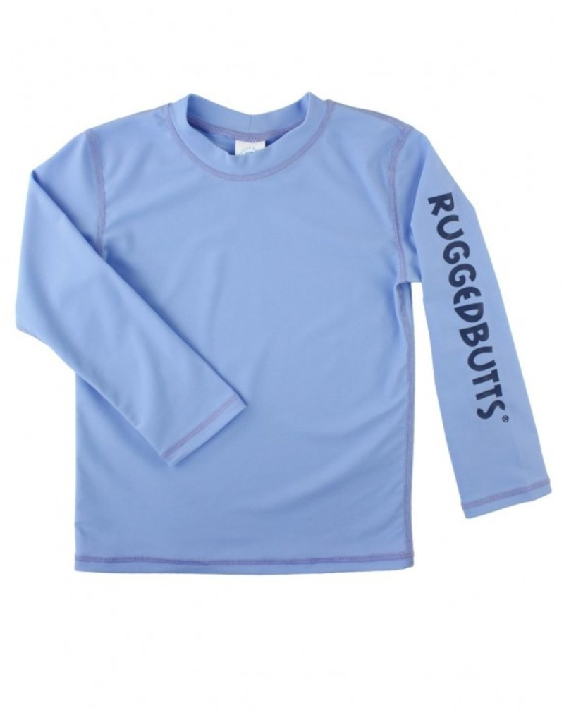 RuffleButts/RuggedButts Cornflower Blue Long Sleeve Rash Guard