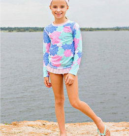RuffleButts/RuggedButts Pastel Petals Long Sleeve Rash Guard Bikini